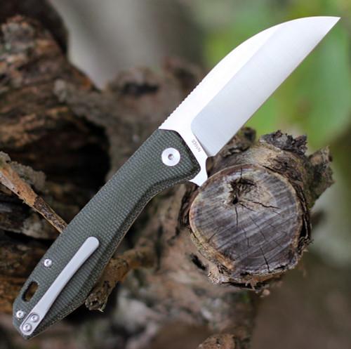 """QSP Pelican Linerlock QS118-E2, 3.625"""" CPM S35VN Satin Wharncliffe Blade, Green Linen Micarta Handle"""