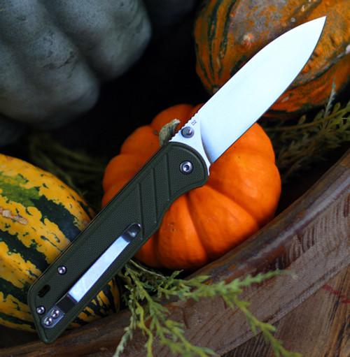 """QSP Knife Parrot Linerlock QS102B, 3.25"""" D2 Satin Blade,  Green G10  Handle"""