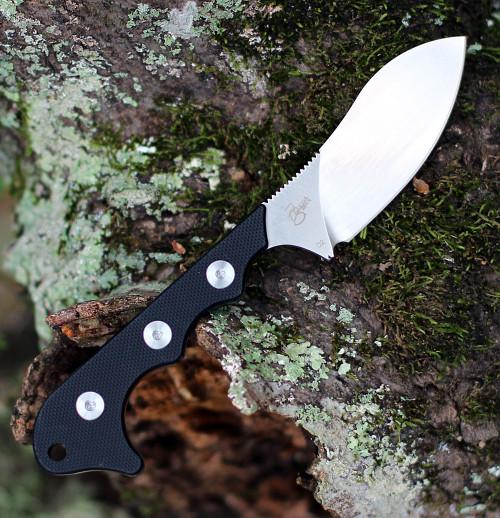 "QSP Knife Neckmuk Neck Knife QS125-A, 2.875"" D2 Plain Blade, Black G10 Handle"