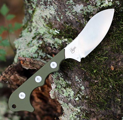 """QSP Knife Neckmuk Neck Knife QS125-C, 2.875"""" D2 Plain Blade, Green  G10 Handle"""