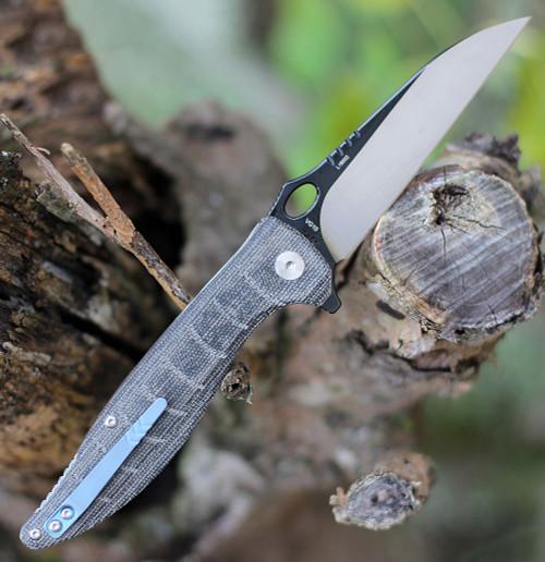"""QSP Knife Locust Linerlock QS117-B, 3.875"""" VG10 Black/Satin Plain Blade, Laminated Flax Micarta"""