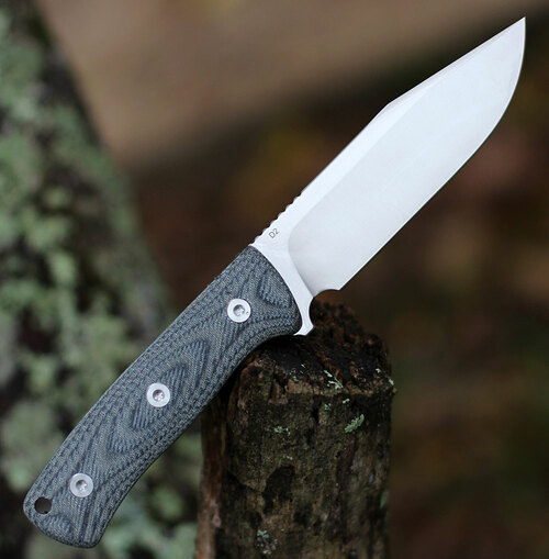 "QSP Knife Bison Fixed Blade QS134-B, 4.5"" D2 Satin Plain Blade, Denim Jean Linen Miarta Handle"