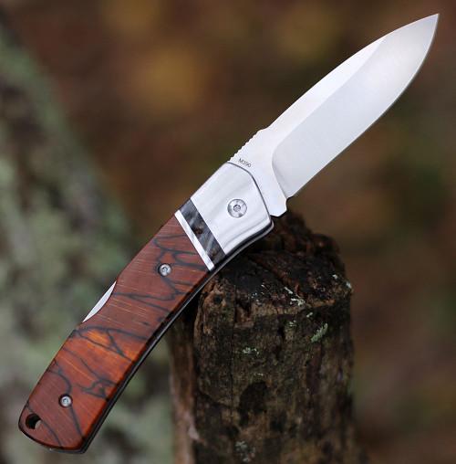 "QSP Knife Mustang Lockback QS132, 3.125"" M390 Satin Plain Blade, Raffir Stabilized Wood w/Mammoth Molar Inlay Handle"