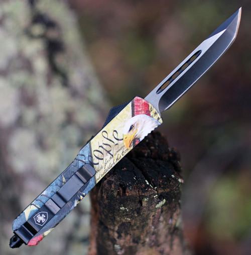 "Templar Knife Slim  OTF Eagle M-EG-23-1, 3.5"" 440C Black/Satin Tanto Blade, Aluminum Zinc Handle"