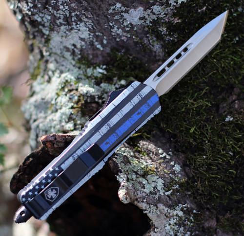 "Templar Knife Small OTF Back The Blue S-BTB-23-2, 2.75"" 440C Satin Tanto Blade, Aluminum Zinc Handle"