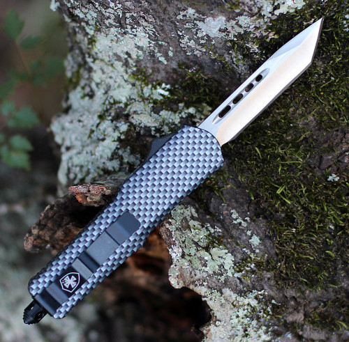 "Templar Knife Small OTF Carbon Fiber S-CF-23-2, 2.75"" 440C Satin Tanto Blade, Aluminum Zinc w/ Carbon Fiber Wrapped Handle"
