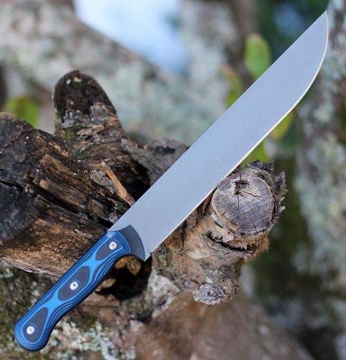 """Tops Knives Dicer 10 Slicer DCR10-01, 10.0"""" CPM S35VN Tumble Blade, Blue/Black G10 Handle"""