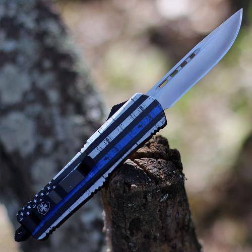 "Templar Knife Large OTF Back The Blue L-BTB-33-2, 3.5"" 440C Satin Drop Point Blade, Aluminum Zinc Handle"