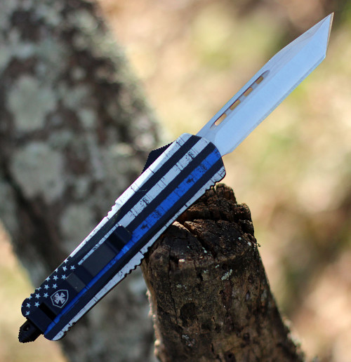 "Templar Knife Large OTF Back The Blue L-BTB-23-2, 3.5"" 440C Satin Tanto Blade, Aluminum Zinc Handle"