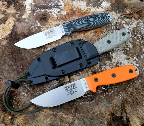 "ESEE-4P35V,  4.5"" S35VN Plain Blade, Canvas Micarta Handle, Black Sheath"