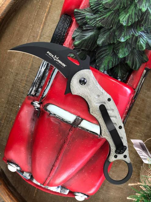 """Fox Knives Folding Karambit 479, 3.2"""" N690Co Black Hawkbill Blade, Green Micarta Handle"""