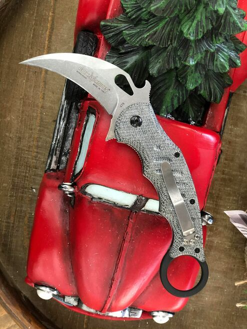 "Fox Knives Folding Karambit 479, 3.2"" N690Co Stonewashed Hawkbill Blade, Black Micarta Handle"