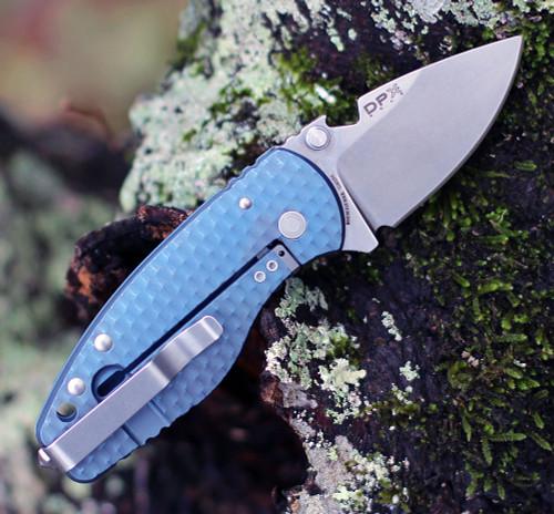 "DPx Gear H.E.A.T/F 3D Ti Blue DPHTF019, 2.24"" Stonewash M390 Blade, Blue 3D Titanium Handle"