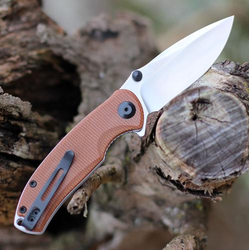 """Civivi Pintail Flipper C2020A, 2.98"""" CPM S35VN Satin Plain Blade, Brown Micarta Handle"""