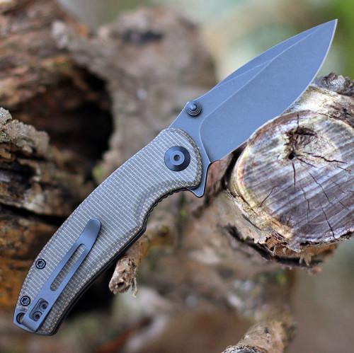 "Civivi Pintail Flipper C2020C, 2.98"" CPM S35VN Black Stonewashed Blade, Dark Green Micarta Handle"