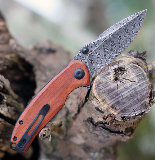 "Civivi Pintail Flipper C2020DS2, 2.98""  Damascus Blade, Cuibourtia Wood Handle"