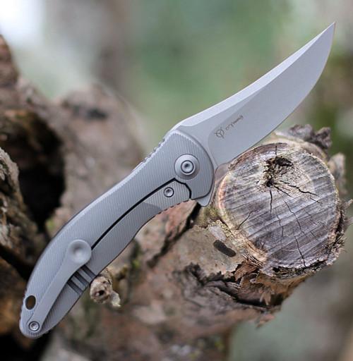 "We Knife Mini Synergy 2011A, 2.93"" CPM 20CV Stonewashed Blade, Gray 6AL4V Titanium Handle"