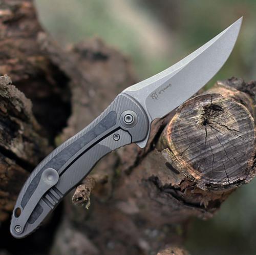 """We Knife Mini Synergy 2011CF-A, 2.93"""" CPM 20CV Stonewashed Blade, Black/Gray 6AL4V Titanium w/ Shredded Carbon Fiber Inlay Handle"""