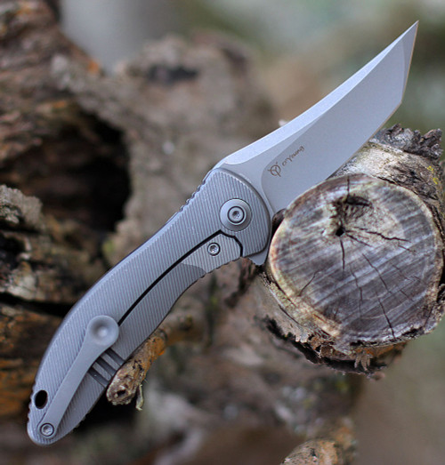 "We Knife Mini Synergy 2012A, 2.93"" CPM 20CV Stonewashed Tanto Blade,Gray 6AL4V Titanium  Handle"