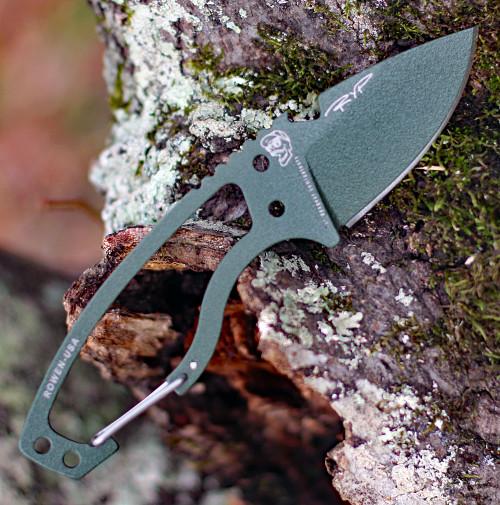 "DPx Gear Heat Hiker 1095 DPHTX025, 2.4"" 1095 OD Green Powder Coated Fixed Blade w/Aluminum Carabiner, Black Molded Sheath"