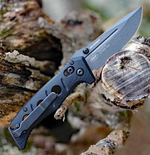"Benchmade 275GY-1 ADAMAS, 3.82"" Tungsten Gray Cerakote CPM-CruWear Plain Blade, Black G-10 Handle"
