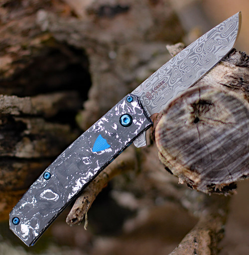 "Benchmade Gold Class  601-211 Tengu Flipper Oeser Design, 2.77"" BiFrost Pattern Damasteel,  White & Black Marbled Carbon Fiber Handle"