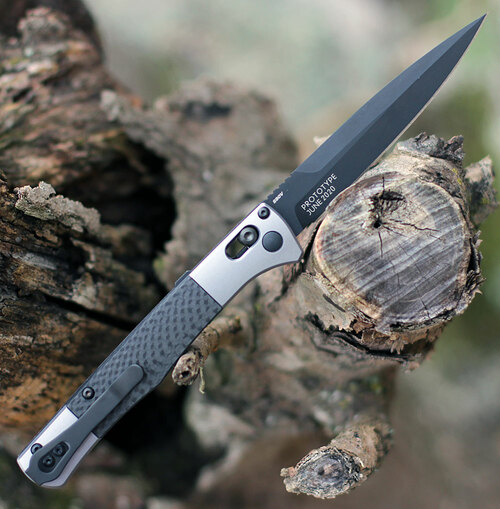 "Benchmade 4170BK Auto Fact, 3.95"" Black DLC Coated CPM-S90V Spear-point Blade, Aluminum w/Carbon Fiber inlays Handle"