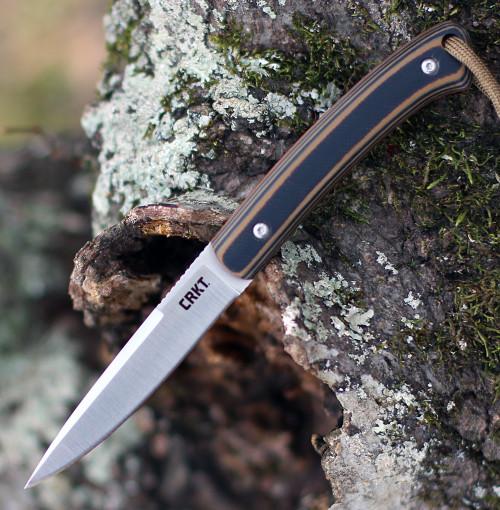 """CRKT 2382 Biwa Fixed Blade, 3.02"""" 8Cr13MoV Satin Plain Blade, G10 Handle w/ Sheath"""