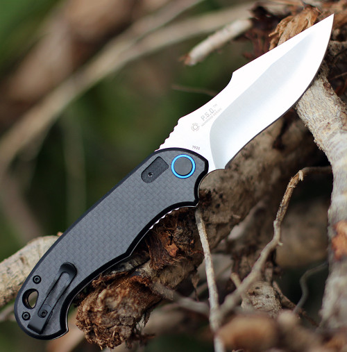 "CRKT 7920 P.S.D.  Assisted Opening, 3.63"" 1.4116 Steel Satin Plain Blade,  Black G10 w/ Carbon Fiber Overlay Handle"