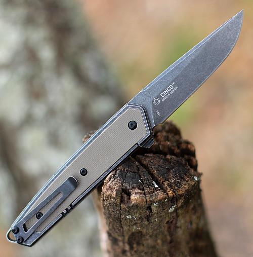 "CRKT 7091 Cinco, 2.89"" D2 Stonewashed Plain Blade, 2Cr13 SS Handle w/ G10 Inlays"