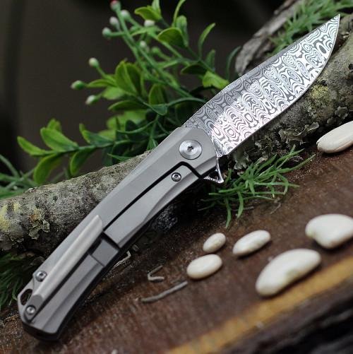 "Kansept Knives K2003A4 Gremlin, 2.91"" Damasteel Stonewashed Plain Blade, Titanium/Carbon Fiber Handle"