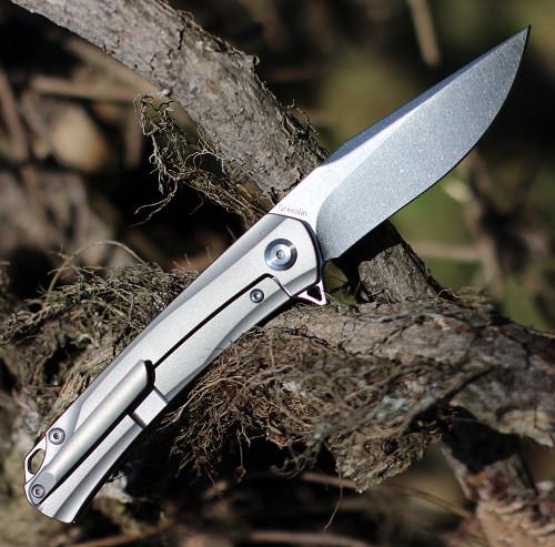 "Kansept Knives K2003A1 Gremlin, 2.91"" CPM-S35VN Stonewashed Plain Blade, Titanium/Green Micarta Handle"