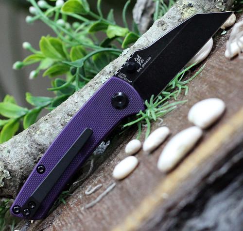 "Kansept Knives T2015A6 Little Main Street Folding Knife, 2.25"" 154CM Reverse Tanto Black Plain Blade, PuRple G10 Handle"