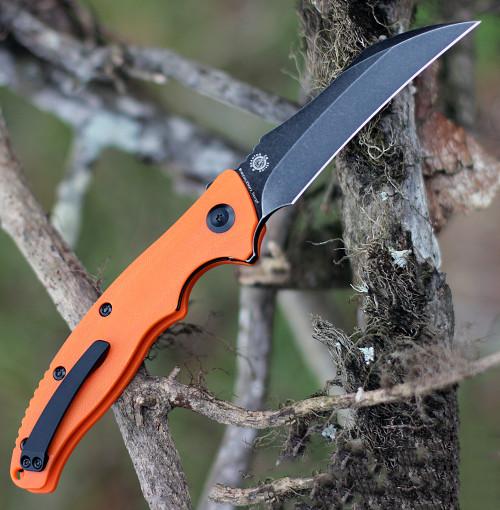 """Kansept Knives T1017A2 Copperhead Flipper Knife, 3.4"""" 154CM Hawkbill Black Plain Blade, Orange G-10 Handle"""