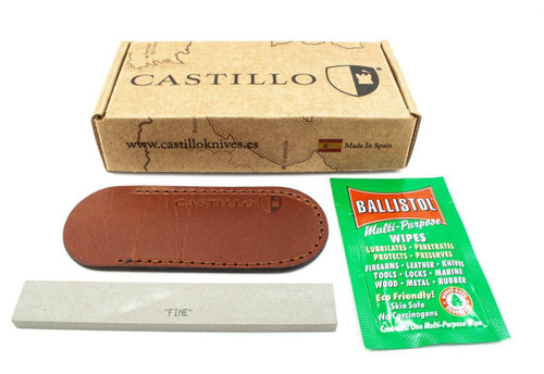 "Castillo Knives Muralla Folding Lockback, C2CUB, 3.5"" Sandvik 14C28N Plain Blade, Curly Birch Wood Handle"