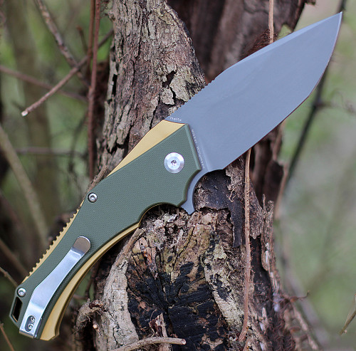 "Kansept Knives KT1008A2 Hellx, 3.60"" D2 Stonewashed Blade, OD Green G10/Bronze Anodized SS Handle"