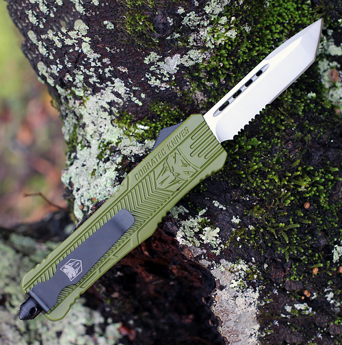 """CobraTec Knives LODCTK-1LTS Tanto Large CTK-1 OD Green, 3.75"""" D2 Steel Partially Serrated Blade, OD Green Aluminum Handle"""