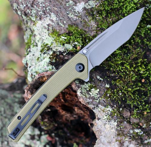 """CIVIVI Knives Keen Nadder,  C2021C, 3.48"""" N690 Compound Tanto Blade, Olive Micarta Handles"""