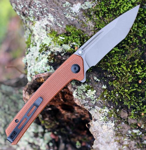 "CIVIVI Knives Keen Nadder,  C2021B, 3.48"" N690 Compound Tanto Blade, Brown Micarta Handles"
