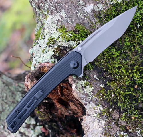 "CIVIVI Knives Keen Nadder,  C2021A, 3.48"" N690 Compound Tanto Blade, Coarse Black G-10 Handles"