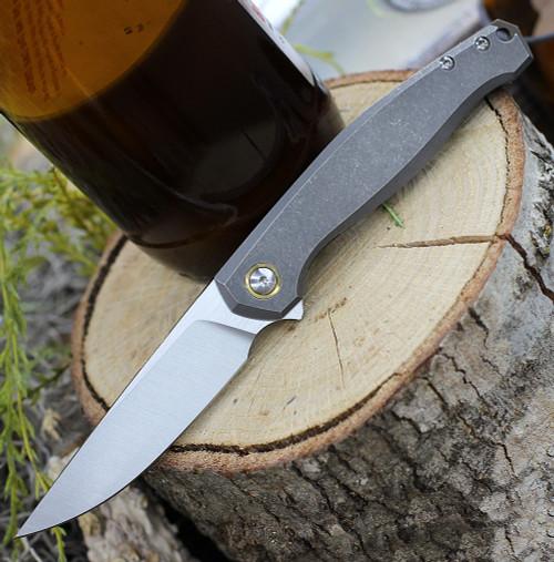 "GiantMouse ACE Sonoma Frame Lock Knife, 3.3"" Satin M390 Drop Point Blade, Titanium Handle"