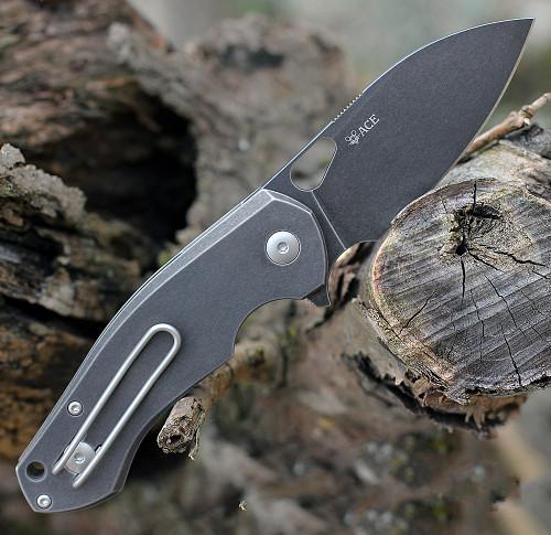 "GiantMouse ACE Biblio Flipper, 2.9"" PVD Stonewashed M390 Drop Point Blade, PVD Stonewashed Titanium Handle"