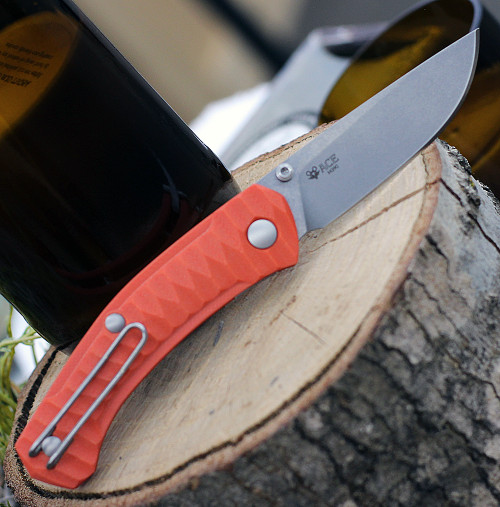 """GiantMouse ACE Iona Liner Lock, 2.9"""" Satin M390 Drop Point Blade,  Anso Textured Orange G-10 Handle"""