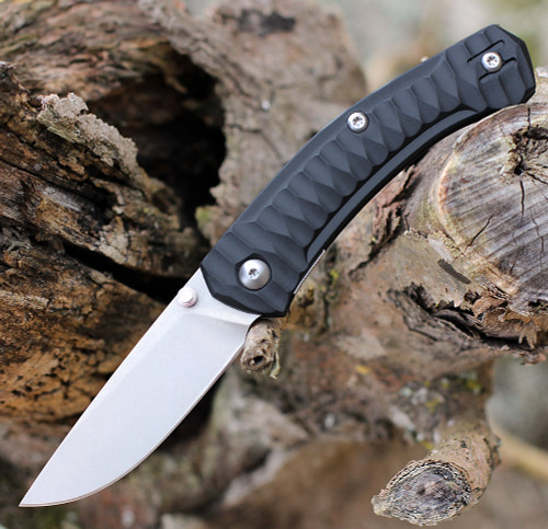 """GiantMouse ACE Iona Liner Lock, 2.9"""" Stonewashed M390 Drop Point Blade, Anso Textured Black FRN Handle"""