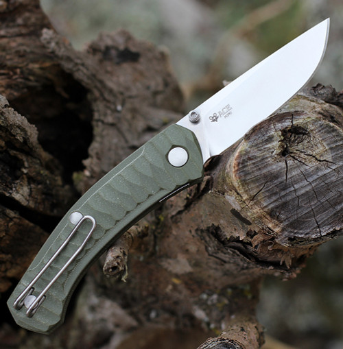 """GiantMouse ACE Iona Liner Lock, 2.9"""" Satin M390 Drop Point Blade,  Anso Textured Green G-10 Handle"""