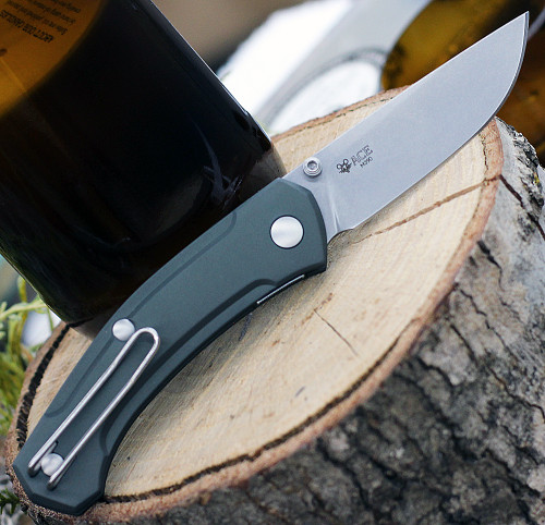 """GiantMouse ACE Iona Liner Lock, 2.9"""" Stonewashed M390 Drop Point Blade,  Green Aluminum Handle"""
