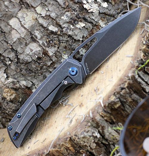 "Kansept Knives K2001B3 Mini Kryo, 2.9"" CPM-S35VN Black Stonewashed Blade, Black Stonewashed Titanium Handle"