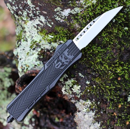 "CobraTec Knives MBCTK-1MWNS Medium CTK-1 Black, 3.0"" D2 Steel Wharncliffe Blade, Aluminum Handle"