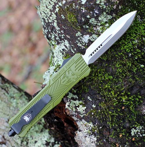 "CobraTec Knives LODCTK-1LDAGNS  Dagger Large CTK-1 OD Green, 3.75"" D2 Steel Plain Blade, OD Green Aluminum Handle"