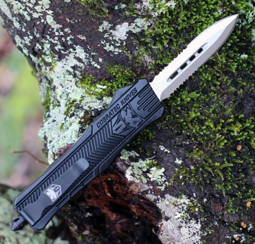 """CobraTec Knives MBCTK-1MDAG2SS Medium CTK-1 Black, 2.75"""" D2 Steel Dagger Serrated Blade, Aluminum Handle"""
